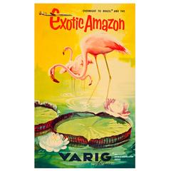 Original Vintage Travel Poster, Brazil and the Exotic Amazon by Varig Airlines