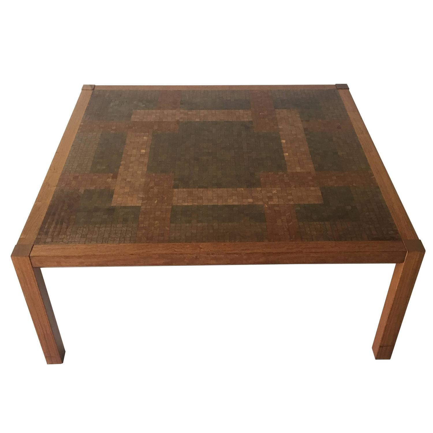 Danish Architect Designed Coffee Low Table with Inlaid Wood Mosaic
