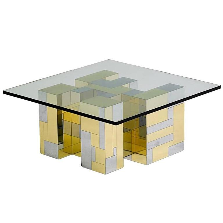 Large lucite chrome and brass coffee table at 1stdibs - Cityscape Coffee Table By Paul Evans For Directional For