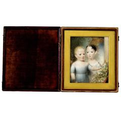 Hand-Painted Portrait En Miniature of Two Children UK Follower Beechey, c.1860