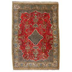 Persian Rug Qum Silk / Vintage Mid-Century Silk Rug