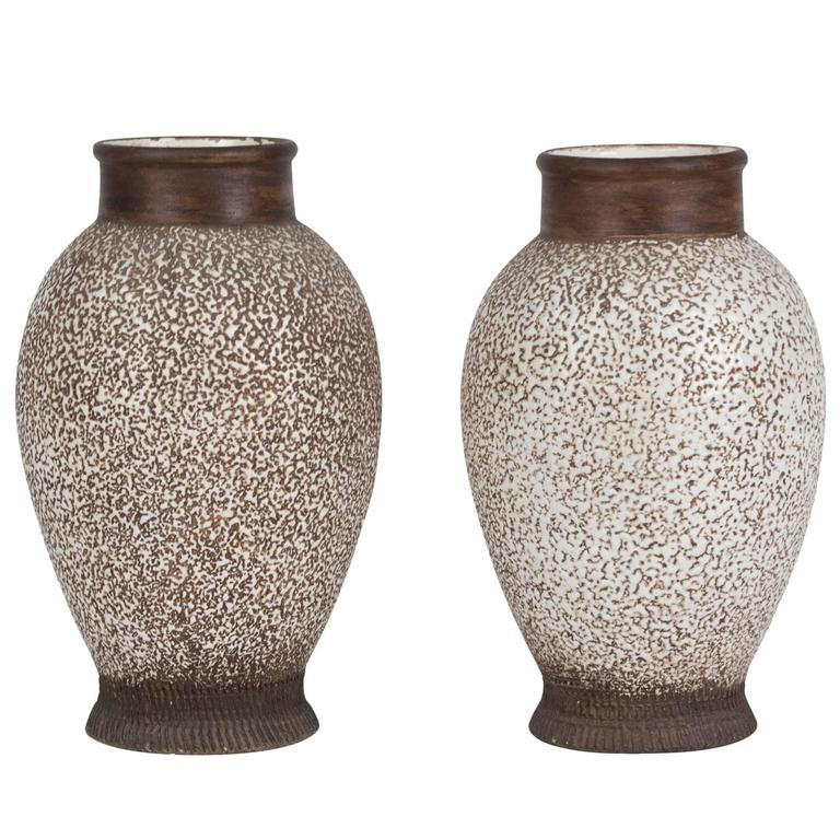 Two Speckled And Textured Ceramic Vases By Louis Dage For