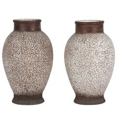 Two Speckled and Textured Ceramic Vases by Louis Dage