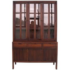 Mid-Century Modern Fluted Doors Walnut China Cabinet Hutch