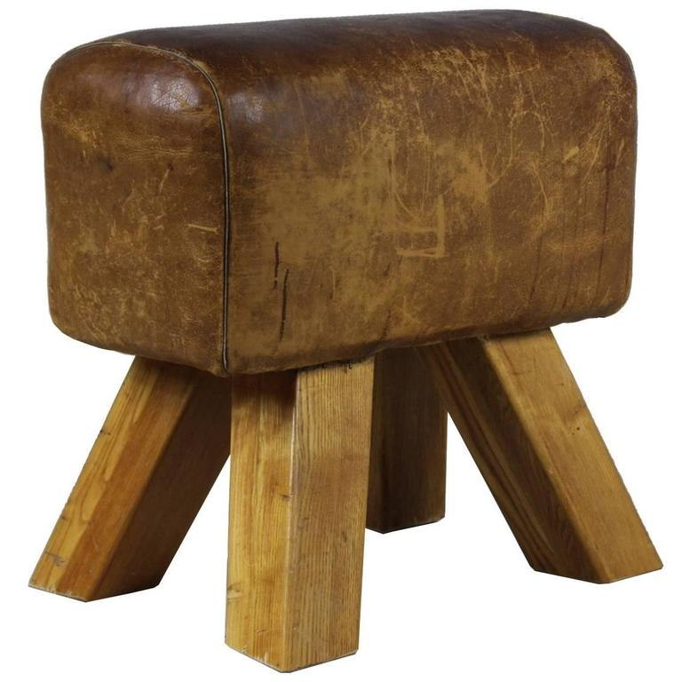 1950s Leather Gym Seat At 1stdibs