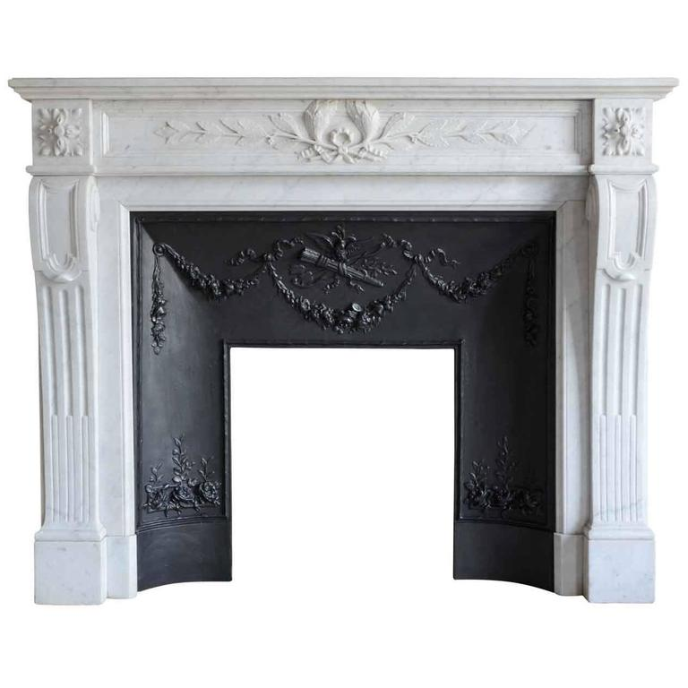 Louis 16 Style Carrara Marble Fireplace, 19th Century