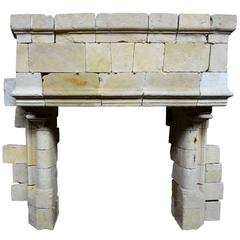 Gothic Limestone Fireplace with Engaged Columns, 15th Century
