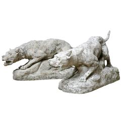Imposing Stone Pair of Dogs Carved by Thomas Francois Cartier, circa 1910