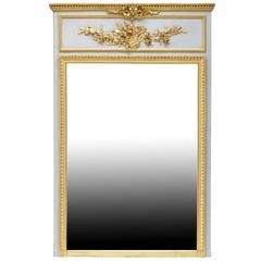 Louis XVI Style Gilded Wood and Lacquered Grey Trumeau, 19th Century