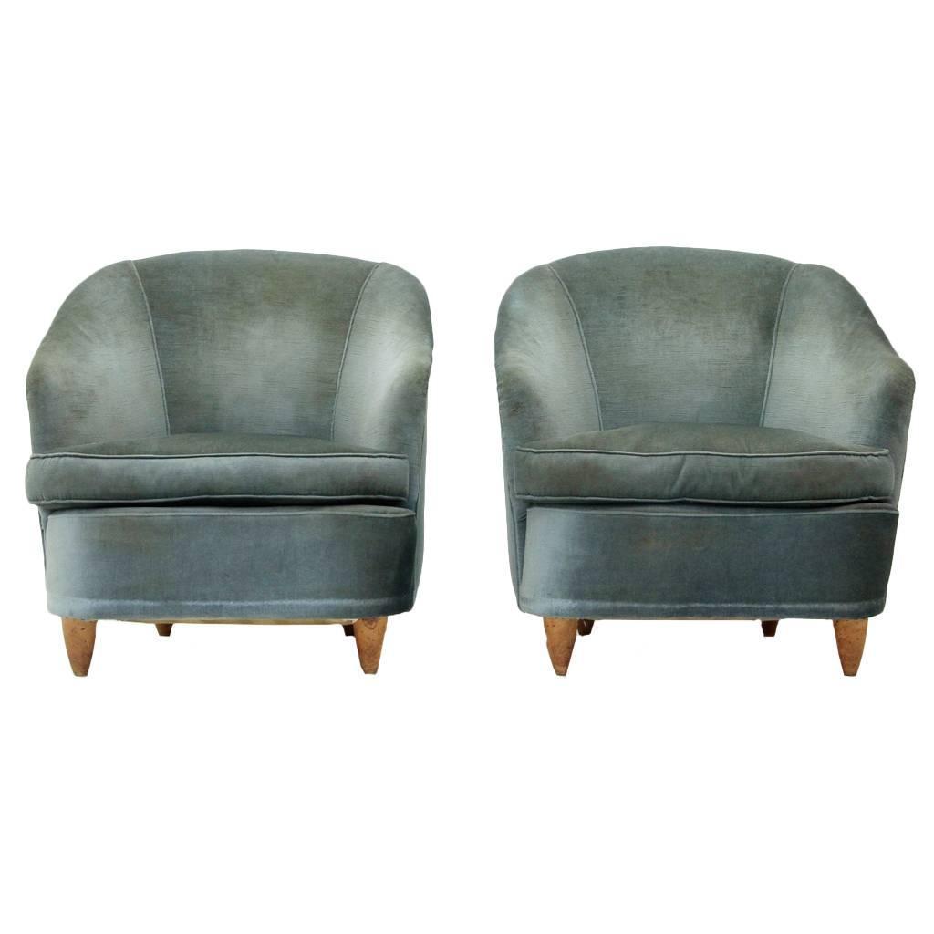 Mid century italian light blue velvet armchairs 1950s set of two for