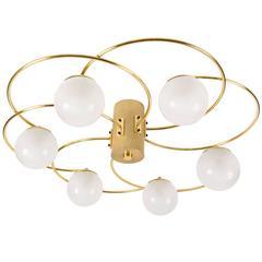 Brass Flushmount Spiral Chandelier by Lumi