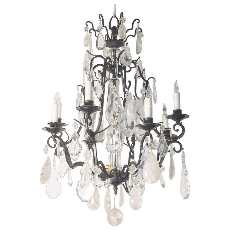 French Rock Crystal Eight Light Chandelier with Iron Frame, Late 19th Century