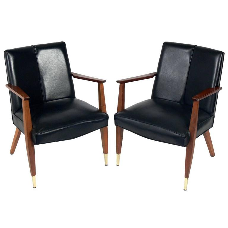 Pair of Angled Back Mid-Century Lounge Chairs