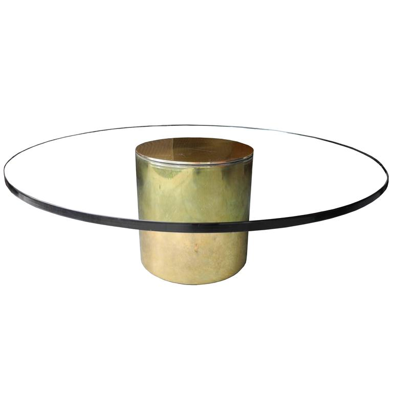 Modern Glass And Brass Coated Metal Round Coffee Table By Paul Mayen For Habitat