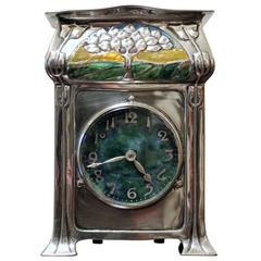 David Veasey for Liberty & Co. 'Cymric' Silver and Enamel Mantel Clock
