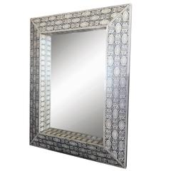 Mid-20th Century Beautiful Moroccan Bone Mirror with Penwork Detail