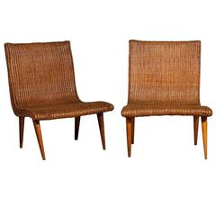 Stellar Pair of Vintage Modern Wicker Slipper Loungers