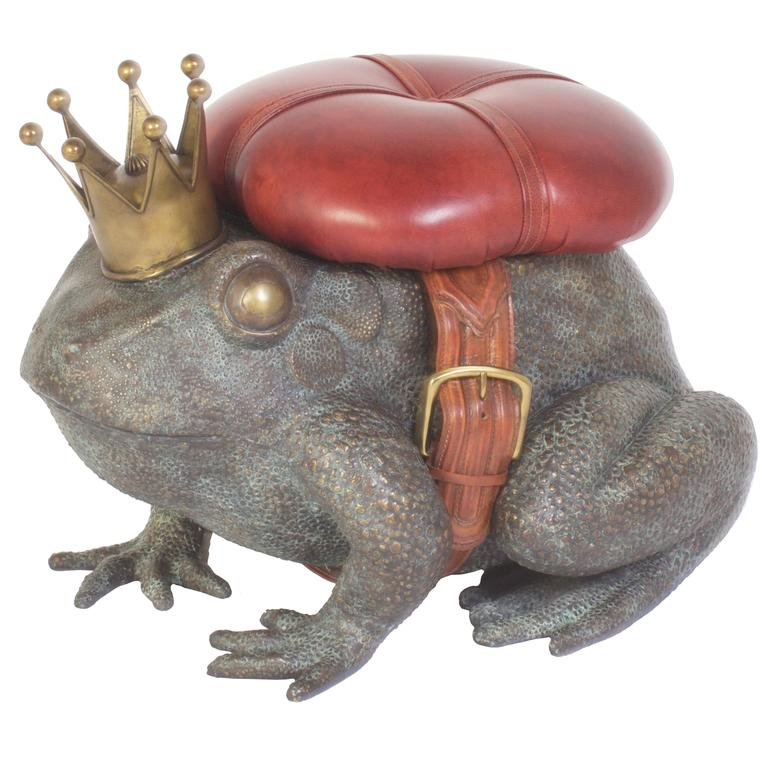 Vintage Cast Bronze Frog Toad Stool At 1stdibs