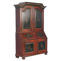 Antique Swedish Secretary Cabinet with Original Painted Details, Dated 1831