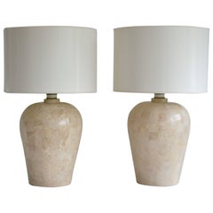 Pair of Postmodern Tessellated Stone Table Lamps