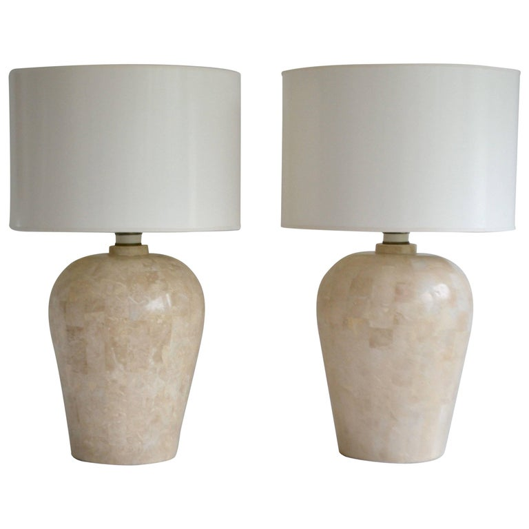 Pair of Postmodern Tessellated Stone Table Lamps For Sale