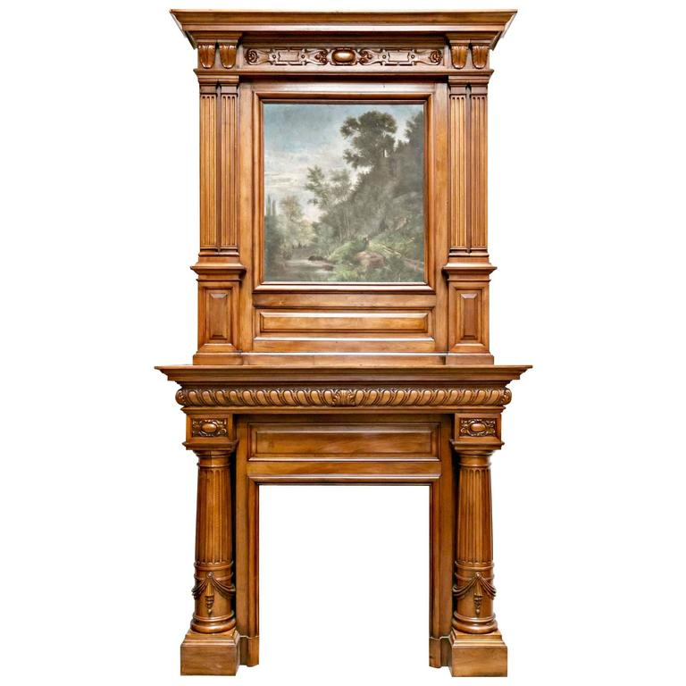 monumental renaissance revival walnut fireplace