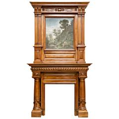 Monumental French Renaissance Revival Walnut Fireplace with Trumeau Overmantel