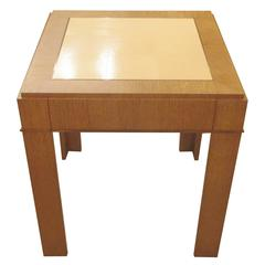Custom Cerused-Oak Side Table with Parchment Top