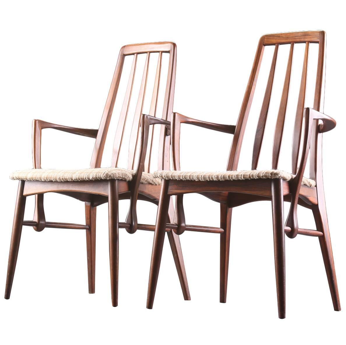 Pair Of Niels Koefoed Rosewood Dining Chairs With Arms For
