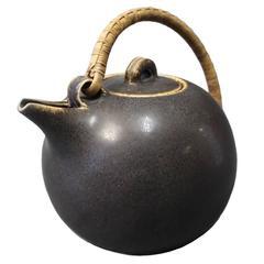 Saxbo Dark Brown Glazed Stoneware Teapot with Bast Handle No. 64, 1940s