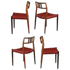 Set of 4 rosewood dining chairs by Niels Otto Moller