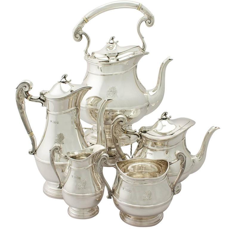 Sterling Silver Five-Piece Tea and Coffee Service Art Nouveau Style Antique