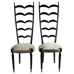 Pair of Modern Style Ladder Back Chairs by Paolo Buffa, 1950s