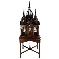 Grand Architectual Mahogany Bird Cage on Stand, Italy, Early 20th Century