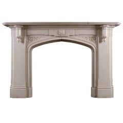 Fine Gothic Revival Statuary Marble Fireplace Mantel