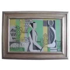 French, Mid-Century Modern Abstract Oil Painting w Pale Green, J. Lagrange