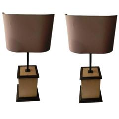 Pair of 1970's brass and leather table lamps
