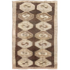 Vintage Turkish Kars Rug with All Over Geometric Design in Brown and earth tones
