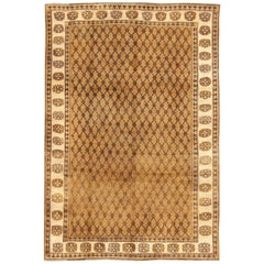Vintage Turkish Rug with Modern Design in Brown, Mocha and Cream