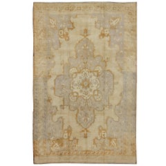 Vintage Turkish Rug with Medallion Design in Lavender and Cream