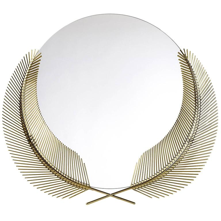 Sunset polished brass mirror designed by Nika Zupanc for Ghidini, 1961 For Sale