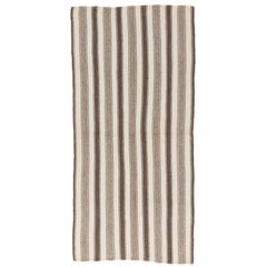 Striped Vintage Turkish Kilim Made of Natural Beige and Brown Wool