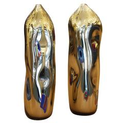 "Gold ""Imploded"" Murano Glass Vases"