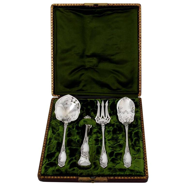 Coignet French All Sterling Silver Dessert Hors D'oeuvre Set Box Apples For Sale
