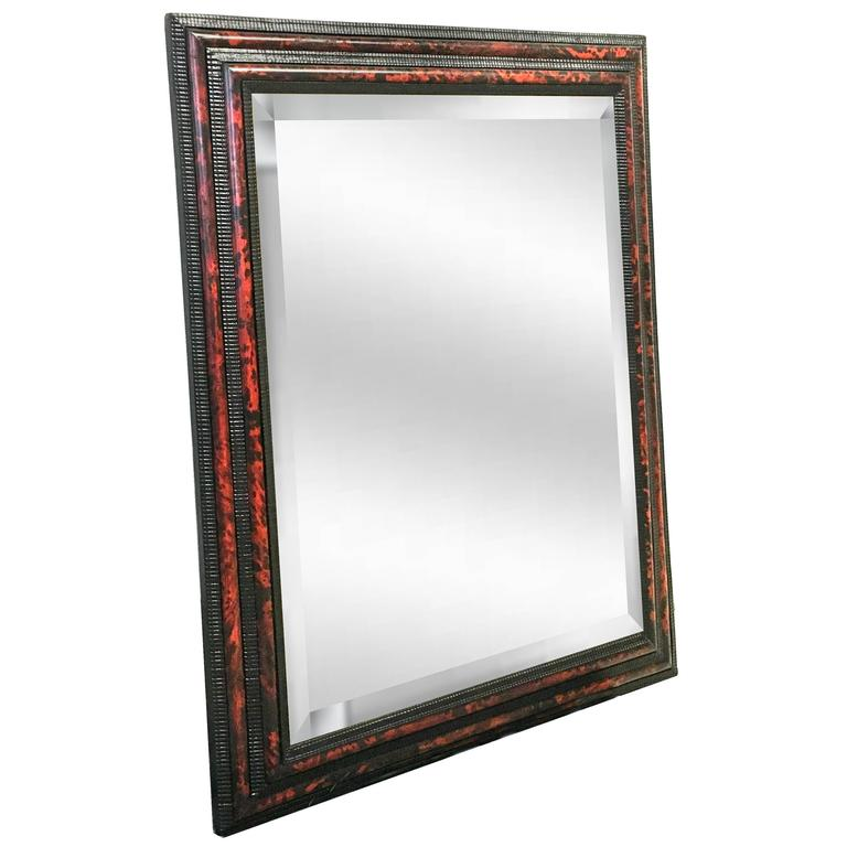 19th Century Dutch Faux Tortoise and Lacquered Mirror 2