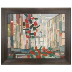 Hotel Moskva, Abstract Painting of a Cityscape in Cubist Style