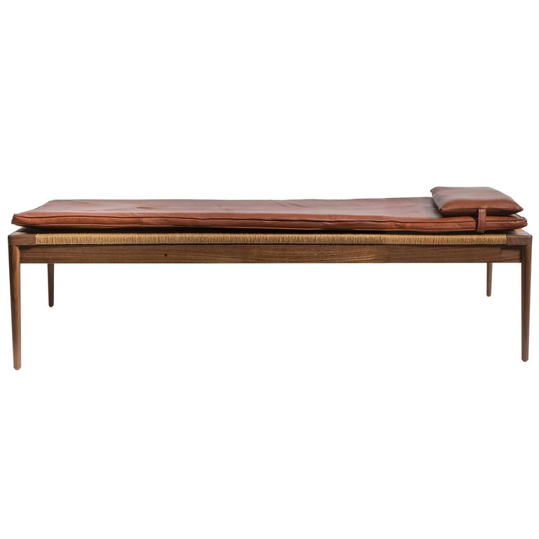 Rush and Walnut Daybed by Smilow Furniture For Sale