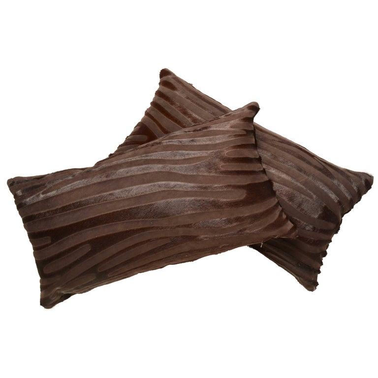 Contemporary Laser Cut Zebra Print Cowhide Hair Lumbar Pillows For Sale