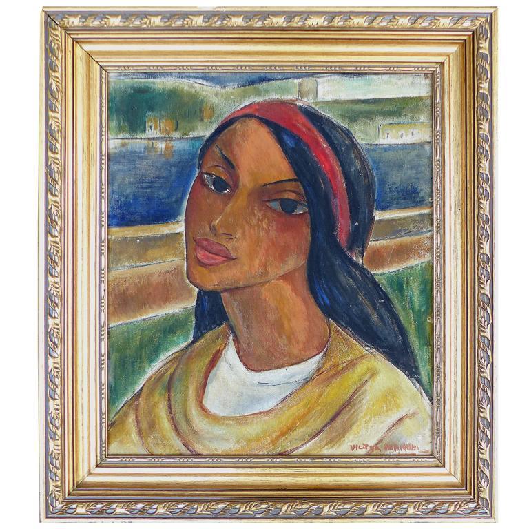 1940s Oil Paint Portrait By Cuban Artist Victor Manuel At