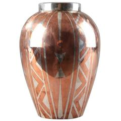 Art Deco Oval Dinanderie Vase by Luc Lanel for Christofle